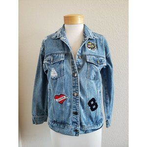 Forever 21 Womens Jean Jacket Blue Distressed S